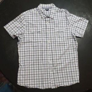 Purple plaid patterned short sleeve button up